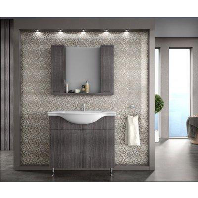 Möbelpaket Monaco 88 grå med spegelskåp (2 skåp)