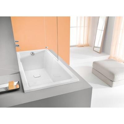 Badkar Rektangulär med duschzon för inbyggnad - Space Line | Djup 48cm