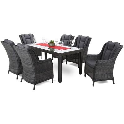Matgrupp Bristol 180 cm - grå/grå, inkl. 6 stolar