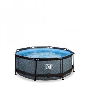 Pool ø244x76cm med filterpump - Grå