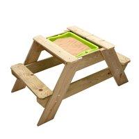 Liten picknickbänk med sandlåda