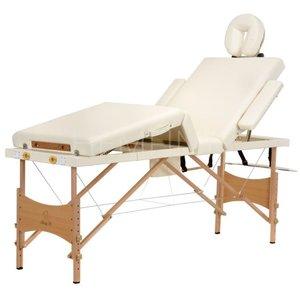 Massagebänk med träben - 4 zoner - Enfärgad