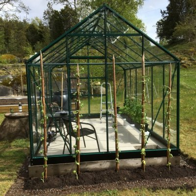 Växthus Neptunus - Grönt 9,6 m² härdat glas