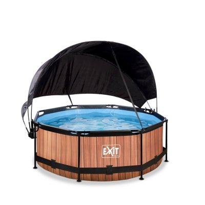 Pool ø244x76cm med solsegel och filterpump - Brun