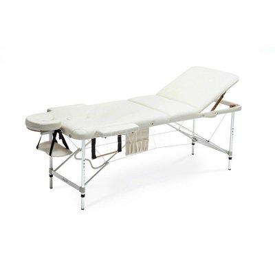 Bred massagebänk med metallben - 3 zoner - Beige