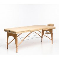 Massagebänk med träben - 3 zoner - Beige