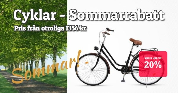 Sommarrabatt på cyklar 20%!