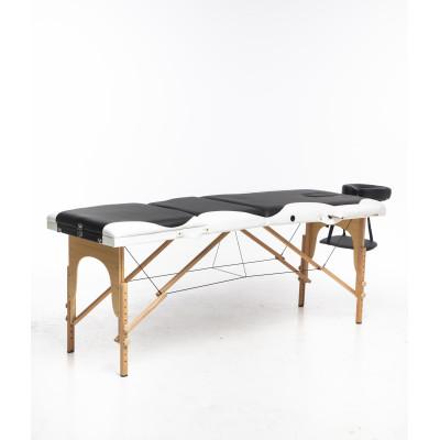 Massagebänk med träben - 3 zoner - Svart/vit