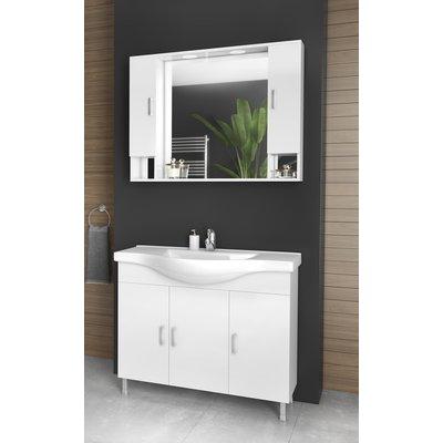 Möbelpaket Alba 100 vit med spegelskåp (2 skåp)