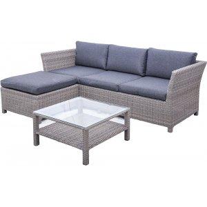 Norrhult utemöbelgrupp 3-sits soffa inkl. fotpall & bord - Grå konstrotting