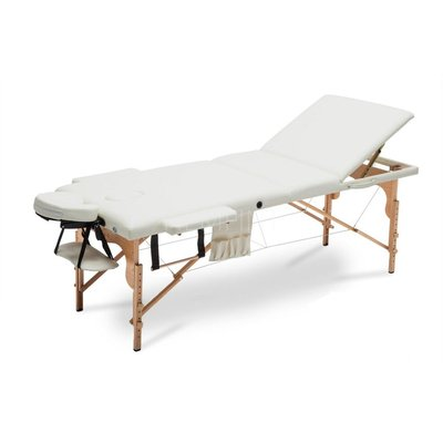 Bred massagebänk med träben - 3 zoner - Enfärgad