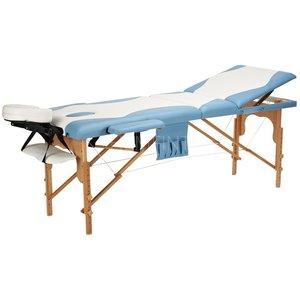 Massagebänk med träben - 3 zoner - Tvåfärgad