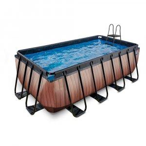 Pool 400x200x122cm med filterpump - Brun