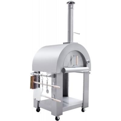 Vedeldad Pizzaugn Neaple med vagn och redskap - Rostfritt stål