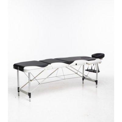 Massagebänk med metallben - 3 zoner - Svart/Vit