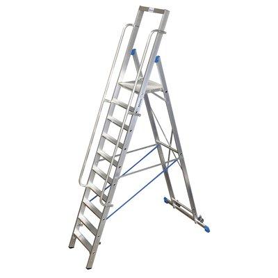 Trappstege - 10 stegs med större plattform