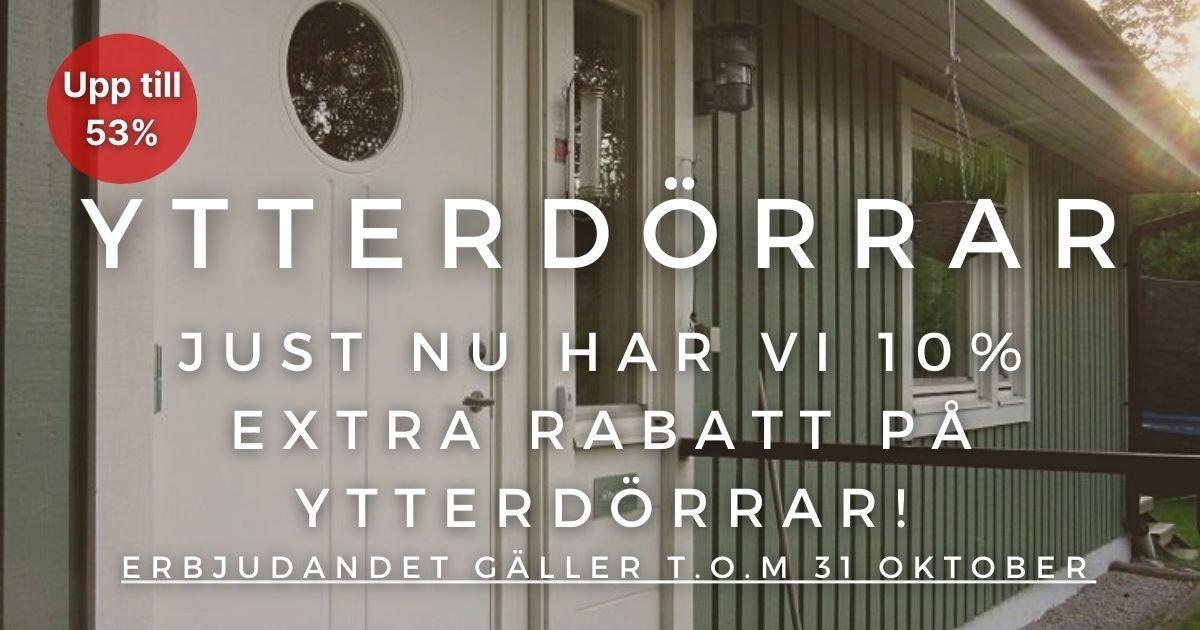 Oktoberkampanj - 10% extra rabatt på Ytterdörrar!