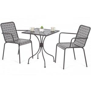 Cafégrupp Maja bord 60x60cm + 2 stolar - Grå