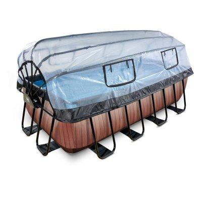 Pool 400x200x122cm med tak och sandfilter och värmepump - Brun