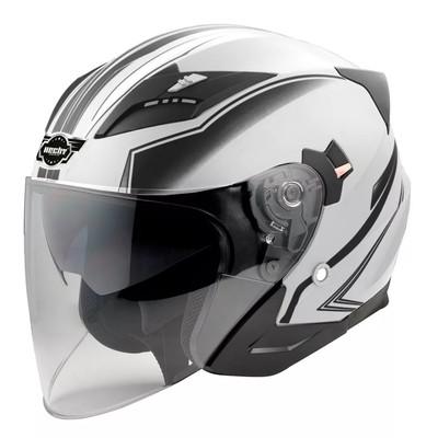 Hjälm för motorcykel - vit & svart