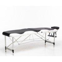 Massagebänk med metallben - 2 zoner - svart/vit