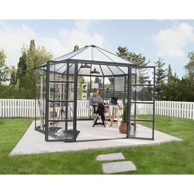 Oasis hexagonalt växthus 8,6m² - Grå