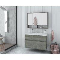 Möbelpaket Instinct 100 - Smoked Oak med spegelskåp