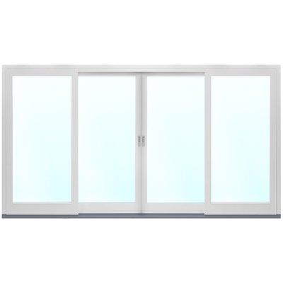 4-delat fasadparti i aluminium med skjutdörrar - 3-glas