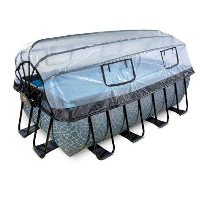 Pool 400x200x122cm med tak och sandfilterpump - Grå