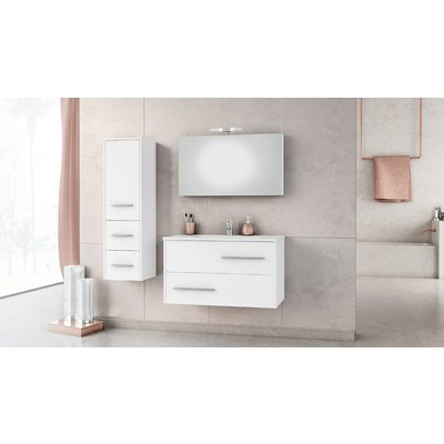 Möbelpaket Fancy 90 vit med spegel väggskåp