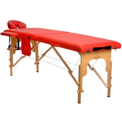 Massagebänk med träben - 2 zoner - Enfärgad